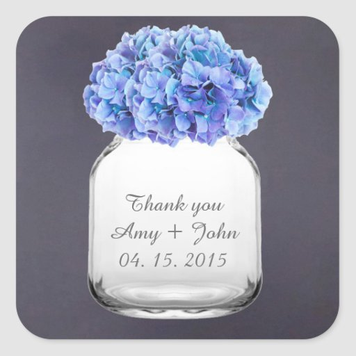 Mason jar hydrangea wedding favors hydrangea7 square stickers