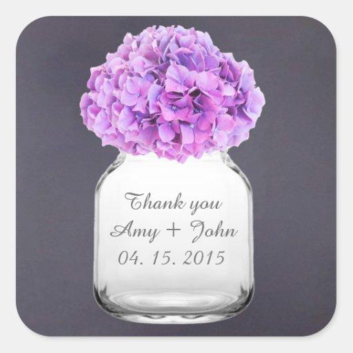 Mason jar hydrangea wedding favors hydrangea8 square sticker