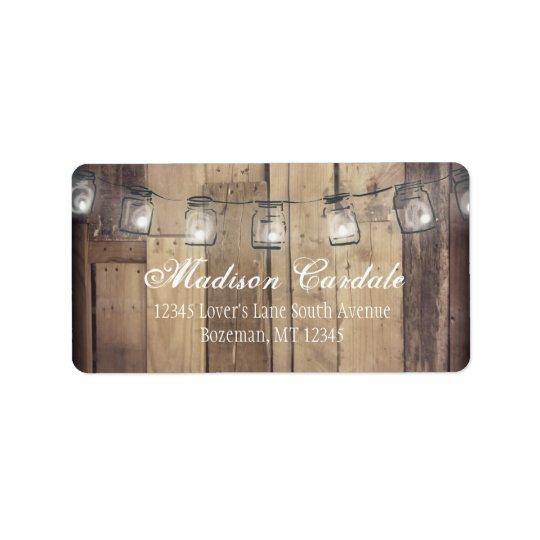 Mason Jar Lights Barn Wood Wedding Address Labels