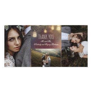 Mason Jar Lights Branches Rustic Wedding Card
