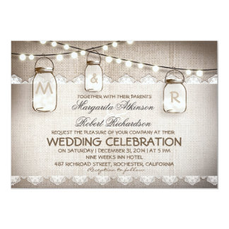Mason Jar Lights - Burlap Lace Rustic Wedding Card