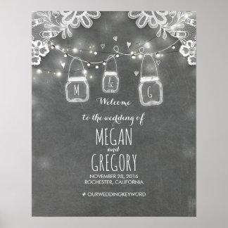 Mason Jar Lights Lace Chalk Wedding Welcome Sign Poster