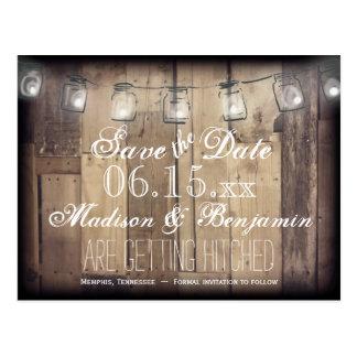 Mason Jar Lights Rusti Wood Save the Date Postcard