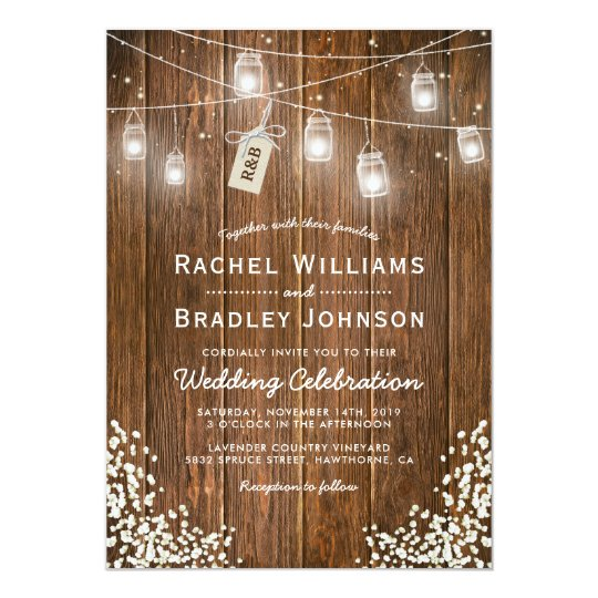 Mason Jar Lights Rustic Babys Breath Wedding Card