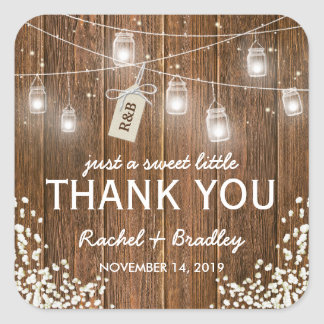 Mason Jar Lights Rustic Babys Breath Wedding Square Sticker