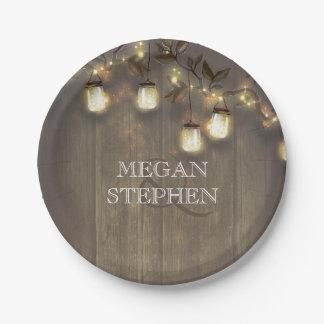 Mason Jar Lights Rustic Barn Wedding Paper Plate