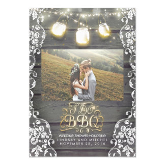 Mason Jar Lights Rustic Photo I DO BBQ Photo Card