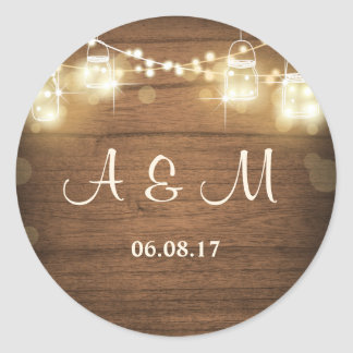 Mason jar lights Rustic wood Classic Engagement Classic Round Sticker