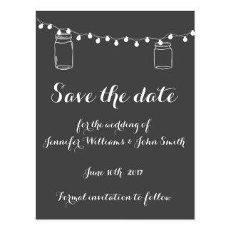 Mason jar lights save the date cards postcard