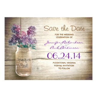 mason jar & lilacs save the date personalized announcement