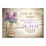 mason jar & lilacs save the date personalised invites