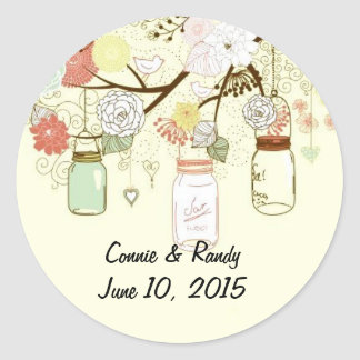 Mason Jar Monogram Round Sticker