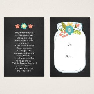 Mason Jar No wrap display bridal shower gift tag Business Card