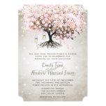Mason Jar Pale Pink Heart Leaf Tree Wedding Invite