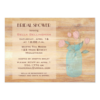 Mason Jar Peach Flowers Bridal Shower Invitation