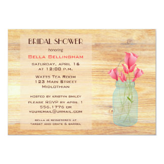 Mason Jar Peach Roses Bridal Shower Invitation