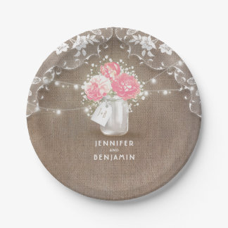 Mason Jar Peonies Lace and Burlap Wedding Paper Plate