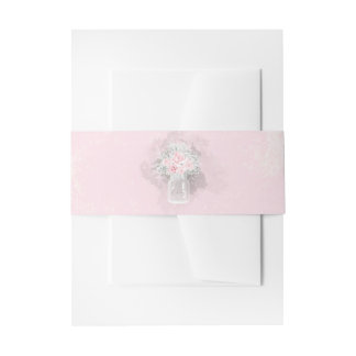 Mason Jar Pink and White Floral Wedding Invitation Belly Band