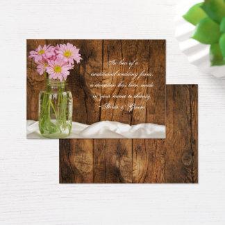 Mason Jar Pink Daisies Wedding Charity Favor Card