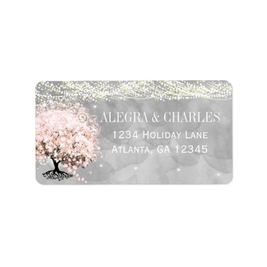 Mason Jar Pink Heart Leaf Tree on Grey Watercolor Label