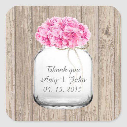 Mason jar pink hydrangea wedding favors hyd1 square sticker