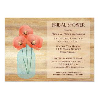 Mason Jar Poppies Bridal Shower Invitation