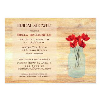 Mason Jar Red Poppies Bridal Shower Invitation