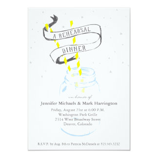 Mason Jar Rehearsal Dinner Invite Starry Night