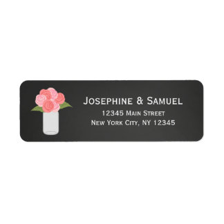 Mason Jar Roses Return Address Labels