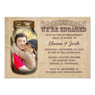 Mason Jar Rustic Burlap Engagement Party Card