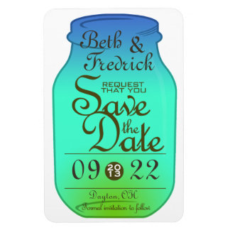 Mason Jar Save The Date Magnet - Blues and Greens