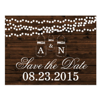Mason Jar SAVE THE DATE Wedding Postcard