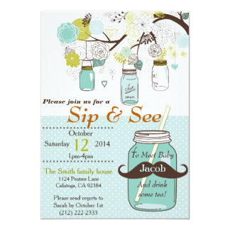 Mason Jar Sip & See Baby Invitation