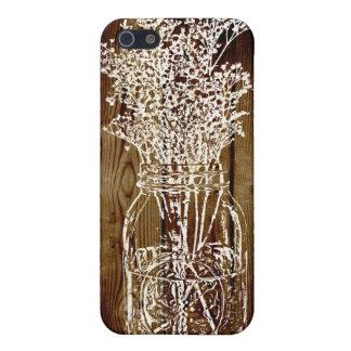 Mason Jar Stamp on Dark Wood Plank iPhone 5 Case