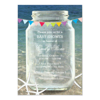 Mason Jar & Starfish Blue Sea Beach Baby Shower 13 Cm X 18 Cm Invitation Card