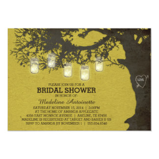 Mason Jar String Light Tree Bridal Shower 13 Cm X 18 Cm Invitation Card