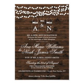 Mason Jar String Light Wedding Invitation