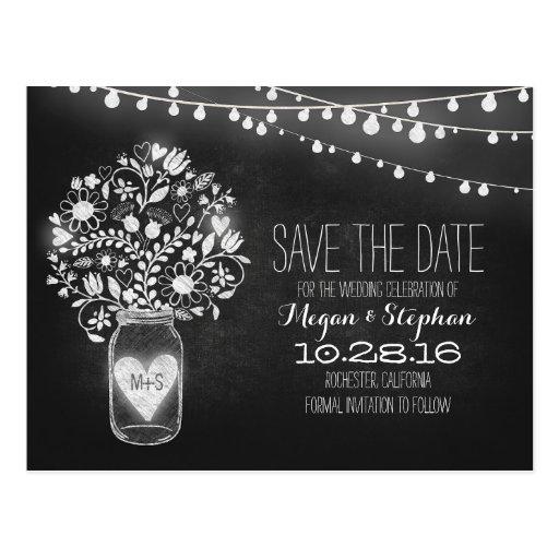Mason jar & string lights chalkboard save the date postcards