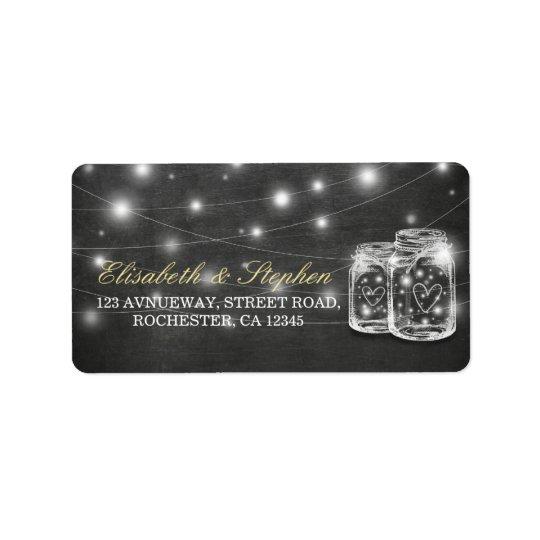 Mason Jar String Lights Chalkboard Wedding Address Label