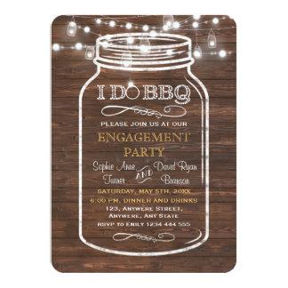 Mason Jar String Lights I DO BBQ Engagement Party Card