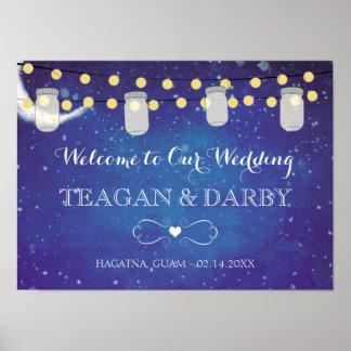 Mason Jar String Lights Night Wedding Poster