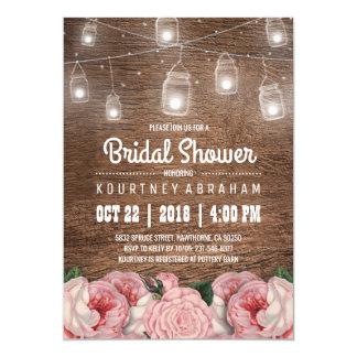 Mason Jar String Lights Pink Rose Bridal Shower Card
