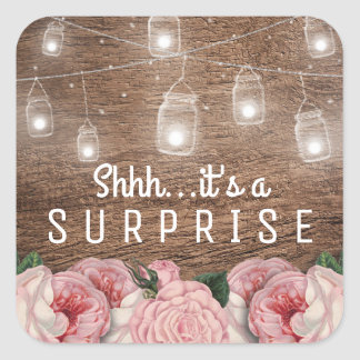 Mason Jar String Lights Pink Rose Surprise Party Square Sticker