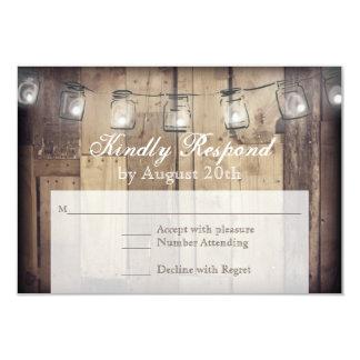 Mason Jar String Lights Rustic Wood Wedding RSVP Card