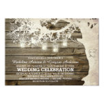 Mason Jar String Lights Tree Vintage Barn Wood Custom Invitation