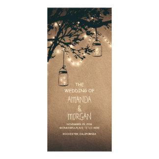 Mason Jar String Lights Tree Wedding Programs Rack Card