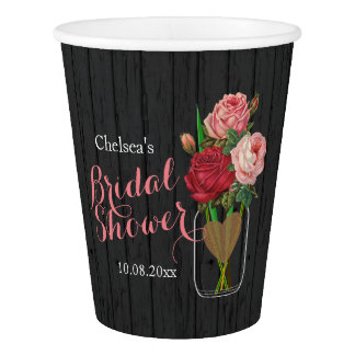 Mason Jar Stylish Rose Bridal Shower Design Paper Cup
