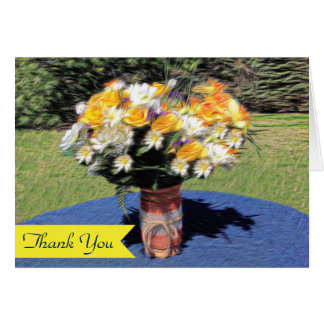 Mason Jar Summer Floral Bouquet Thank You Note Card