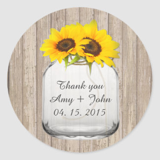 Mason jar sunflower wedding tags sunflwr6 round sticker