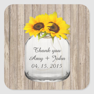 Mason jar sunflower wedding tags sunflwr6 square sticker